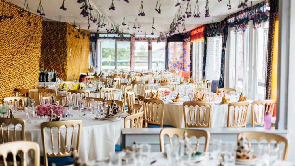 Thames Trademen's riverside bar, fully decorated for a Brazilian wedding